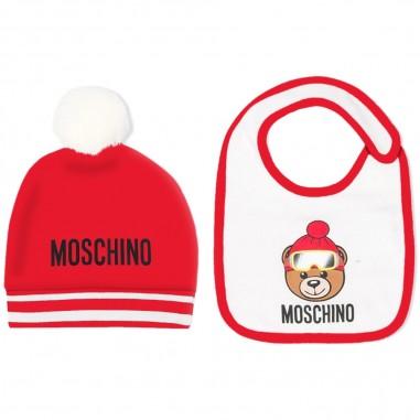 Moschino Kids Set cuffia e biberon rosso neonati by Moschino Kids muy02j-lda1450109mosch29