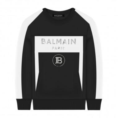 Balmain Kids Felpa Nera - Balmain Kids 6m4530-mx120-930bc-balmainkids20