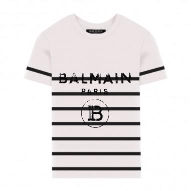 Balmain Kids T-Shirt Bianca A Righe - Balmain Kids 6m8731-mx030-100ne-balmainkids20