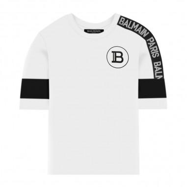 Balmain Kids T-Shirt Con Bande - Balmain Kids 6m8521-mx030-100ne-balmainkids20
