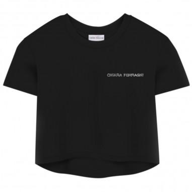 Chiara Ferragni Kids Girls Crop T-Shirt - Chiara Ferragni Kids cfkt013-black-chiaraferragnikids20