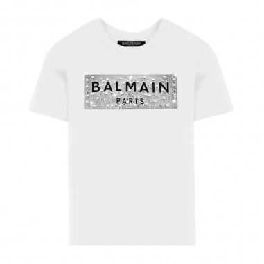 Balmain Kids Diamanté Logo T-Shirt - Balmain Kids 6m8001-ma030-100-balmainkids20