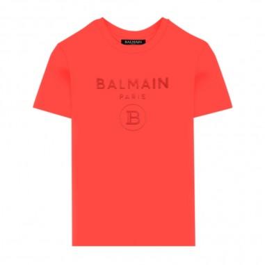 Balmain Kids Red Logo T-Shirt - Balmain Kids 6m8801-mx030-409-balmainkids20