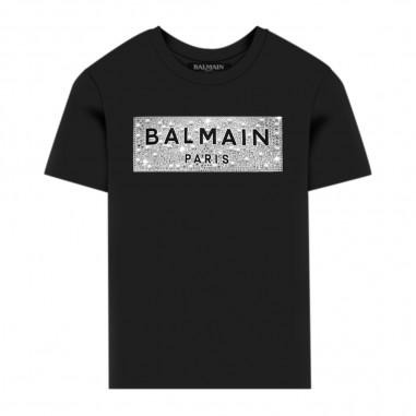 Balmain Kids Black Diamanté T-Shirt - Balmain Kids 6m8001-ma030-930-balmainkids20