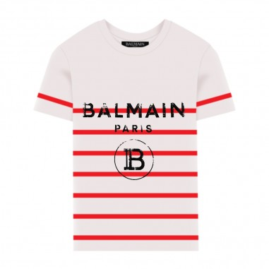 Balmain Kids Striped T-Shirt - Balmain Kids 6m8731-mx030-100ro-balmainkids20