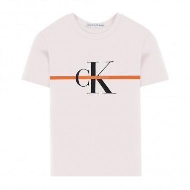 Calvin Klein Jeans Kids T-Shirt Monogram Riga Bambino - Calvin Klein Jeans Kids ib0ib00448-calvinkleinjeanskids20