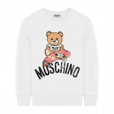 Moschino Kids Felpa Bianca Skate - Moschino Kids hqf02hlda13-moschinokids20