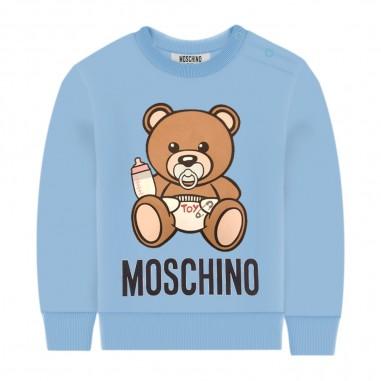 Moschino Kids Felpa Celeste Neonati - Moschino Kids mxf02plda00-moschinokids20