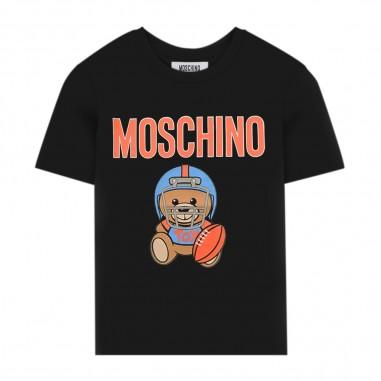 Moschino Kids Black Baseball T-Shirt - Moschino Kids hum02qlba10-60100-moschinokids20