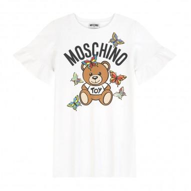 Moschino Kids Girls White Short Sleeve Dress - Moschino Kids hbv06elda00-moschinokids20