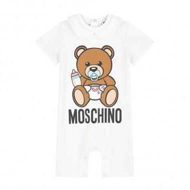 Moschino Kids Baby White Logo Romper - Moschino Kids mut01hlba00-10101-moschinokids20