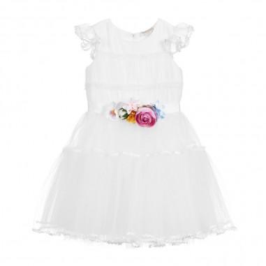 Monnalisa Girls Cream Tulle Dress - Monnalisa 795910f1-monnalisa20