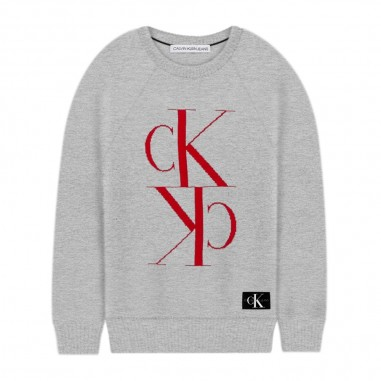 Calvin Klein Jeans Kids Boys Grey Monogram Sweater - Calvin Klein Jeans Kids ib0ib00364-calvinkleinjeanskids20