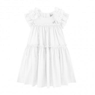 Monnalisa Girls White Poplin Dress - Monnalisa 315933f5-0099-monnalisa20