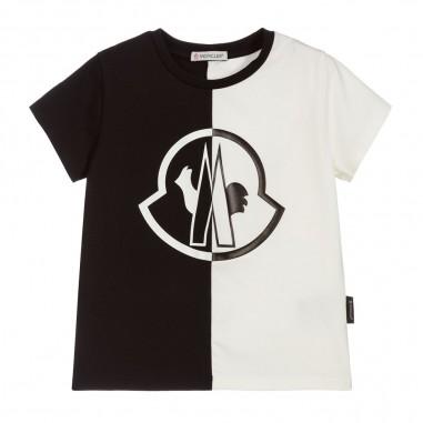Moncler T-Shirt Bicolore Logo - Moncler Kids 8c700-10-8790a-moncler20