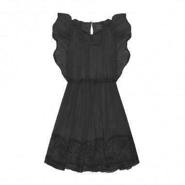 Alberta Ferretti Junior Girls Black Chiffon Dress - Alberta Ferretti Junior 024256-110-albertaferrettijunior20