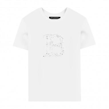 Balmain Kids White Strass T-Shirt - Balmain Kids 6m8031-mx030-930-balmainkids20