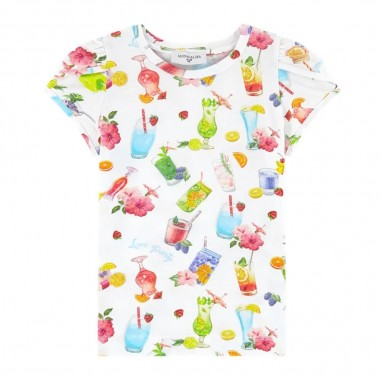 Monnalisa Girls White Summer Party T-Shirt - Monnalisa 115624-9984-monnalisa20