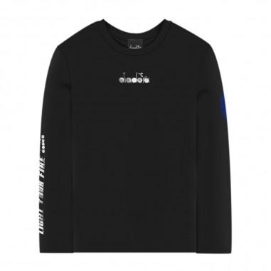 Diadora T-Shirt Nera Manica Lunga - Diadora 25466-110-diadora30