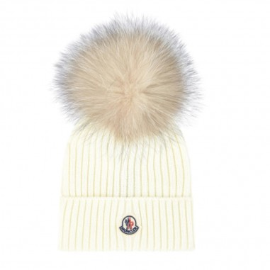 Moncler Cream Fur Hat - Moncler 3b71110-04s01-034-moncler30