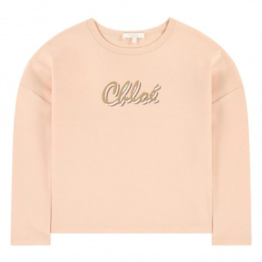 Chloé Kids T-Shirt Logo Rosa Pallido - Chloé Kids c15b35-chloekids30