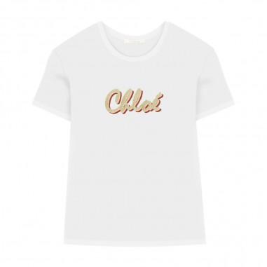 Chloé Kids White T-Shirt - Chloé Kids c15b30-bianco-chloekids30