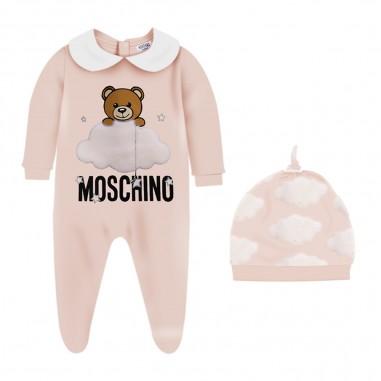Moschino Kids Pink Babysuit & Hat Set - Moschino muy02x-lce00-sugarrose-moschino30