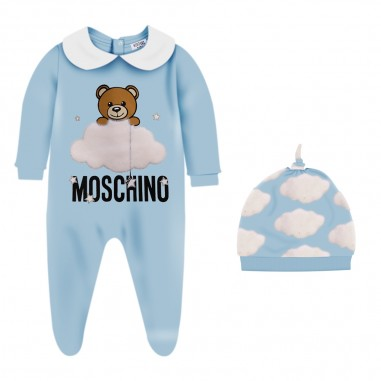 Moschino Kids Light Blue Babysuit & Hat Set - Moschino muy02x-lce00-babysky-moschino30