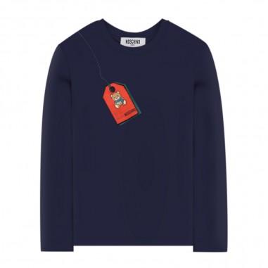 Moschino Kids T-Shirt Blu Manica Lunga - Moschino hno006-lba22-moschino30