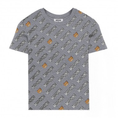 Moschino Kids Grey All-Over T-Shirt - Moschino hnm02s-lbb47-grigio-moschino30