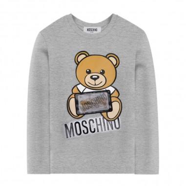 Moschino Kids T-Shirt Grigia Manica Lunga - Moschino hoo006-lba12-moschino30