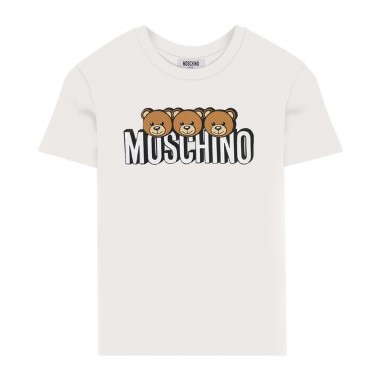 Moschino Kids Cream Short Sleeve T-Shirt - Moschino hom02s-lba24-cloud-moschino30