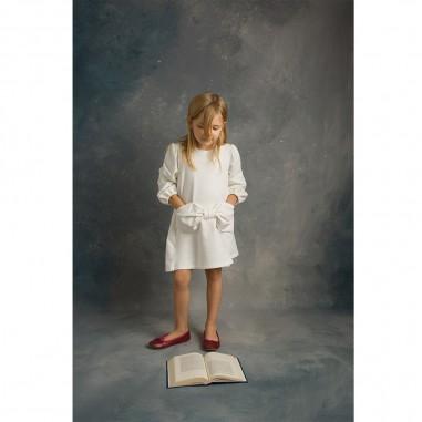 Piccola Ludo Girls Cream Dress - Piccola Ludo venere-panna-piccolaludo30