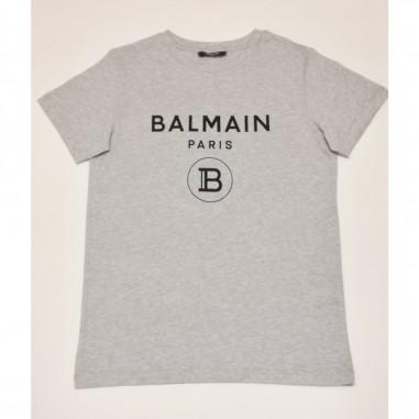 Balmain Kids T-Shirt Grigia Logo - Balmain 6m8701-mx030-2-grigio-balmain21