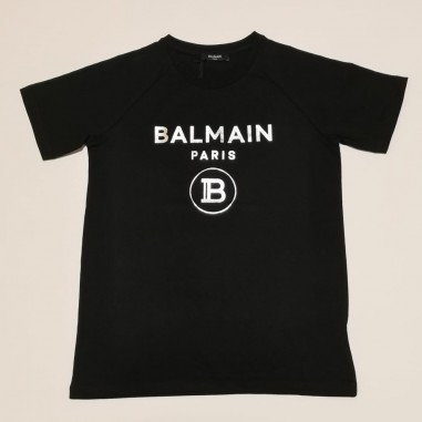Balmain Kids T-Shirt Nera Logo Argento - Balmain 6o8101-ox390-2-930ag-balmain21