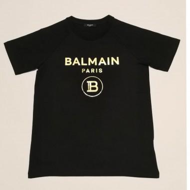 Balmain Kids Black Golden Logo T-Shirt - Balmain 6o8101-ox390-2-930or-balmain21