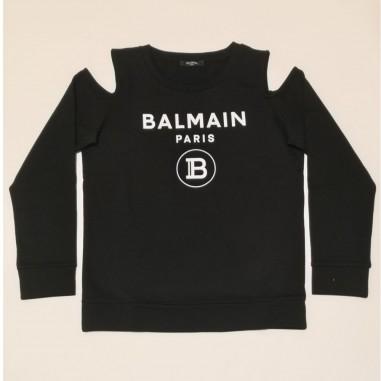 Balmain Kids Felpa Nera Bambina - Balmain 6m4020-mx270-2-balmain21