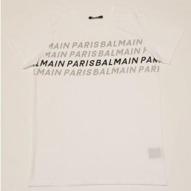 Balmain Kids T-Shirt Bianca Loghi - Balmain 6o8511-ox400-2-balmain21