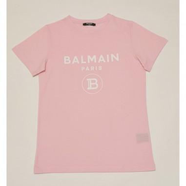 Balmain Kids T-Shirt Rosa Logo - Balmain 6m8701-mx030-2-rosa-balmain21