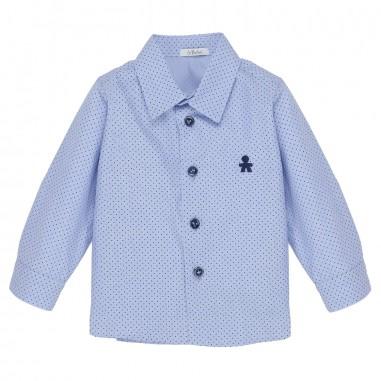 Le Bebé Camicia neonato Microfantasia e logo LBB0893