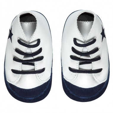 Le Bebé Baby Boy White & Blue Sneakers LBB1024