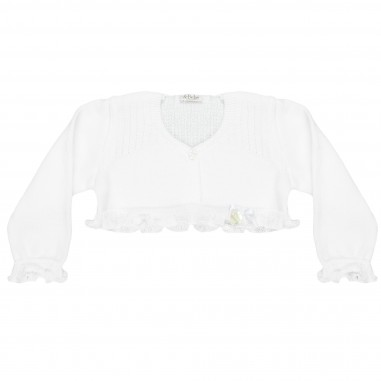 Le Bebé Baby Girl White Frilled Cardigan LBG1376