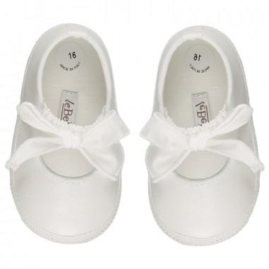 Le Bebé Scarpine neonata bianche con Fiocco LBG1324