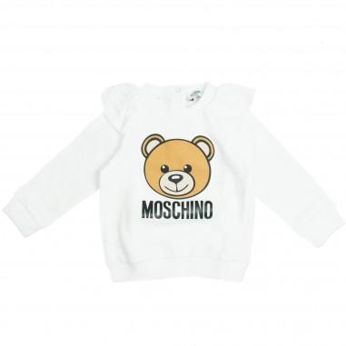 Moschino Kids Felpa panna girocollo MDF01KLDA03