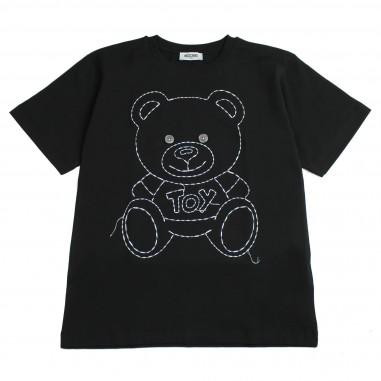 Moschino Kids T-shirt nera ricamata HYM01NLBA03